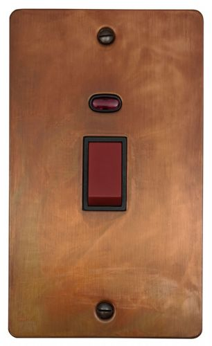 G&H FTC28B Flat Plate Tarnished Copper 45 Amp DP Cooker Switch & Neon Vertical Plate